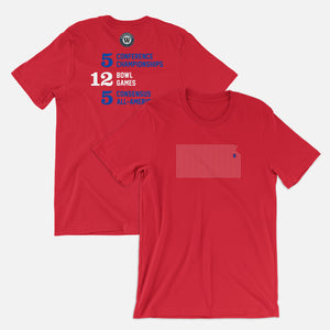 Lawrence, Kansas Football Map Stats T-Shirt, Red