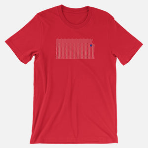 Lawrence, Kansas Football Map T-Shirt, Red