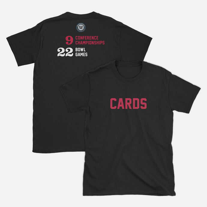Cards Football Stats T-Shirt, Black