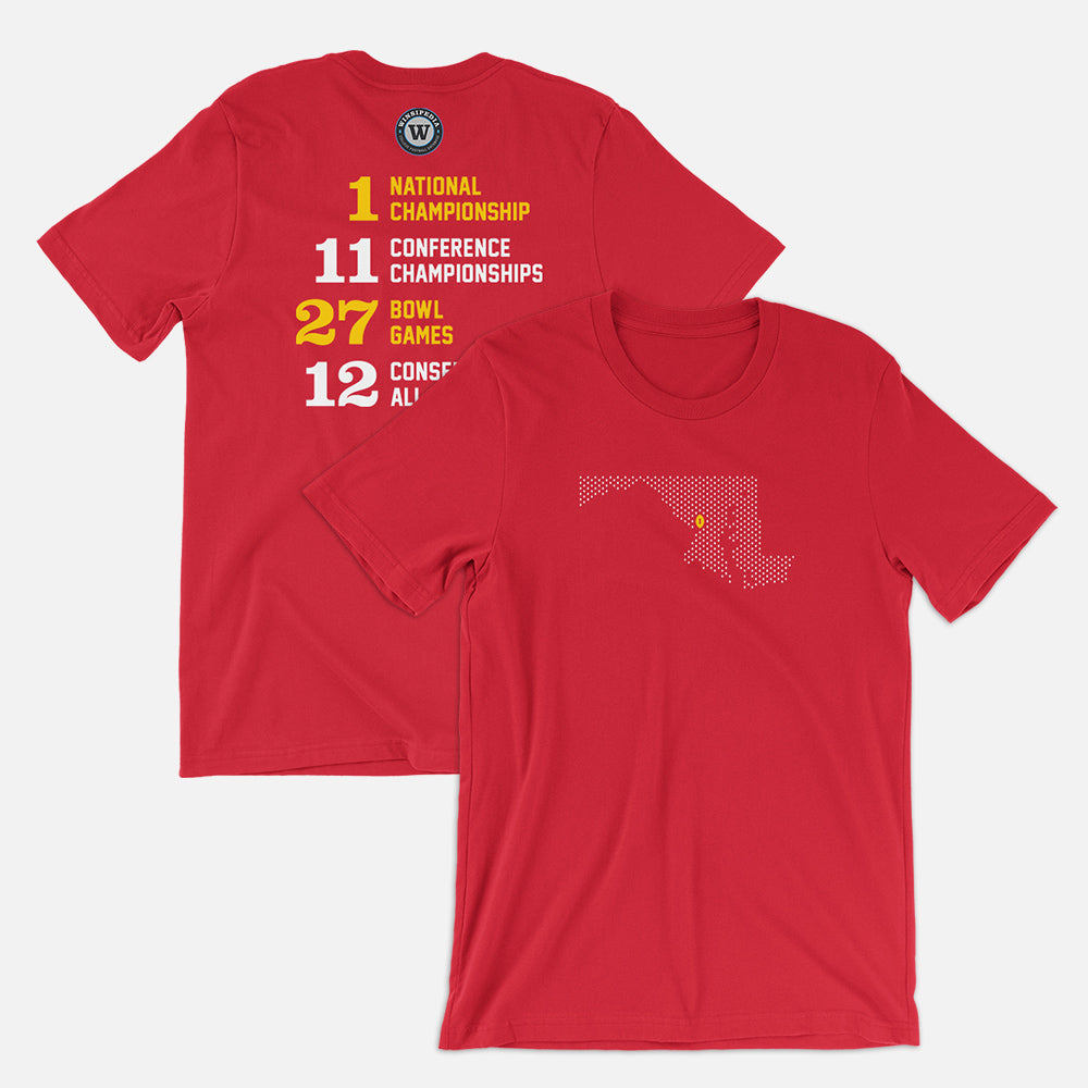 College Park, Maryland Football Map Stats T-Shirt