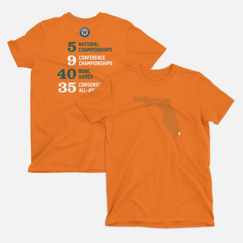 Miami, Florida Football Map Stats T-Shirt, Orange