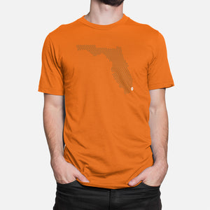 Miami, Florida Football Map T-Shirt, Orange