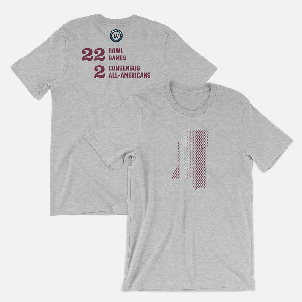 Starkville, Mississippi Football Map Stats T-Shirt, Heather Gray