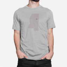 Load image into Gallery viewer, Starkville, Mississippi Football Map T-Shirt, Heather Gray