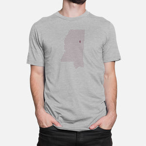 Starkville, Mississippi Football Map T-Shirt, Heather Gray