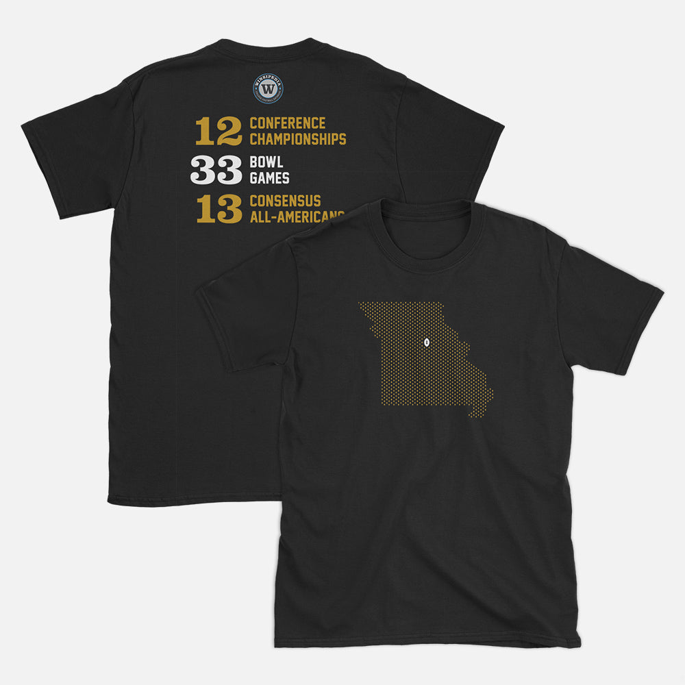 Columbia, Missouri Football Map Stats T-Shirt, Black