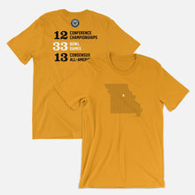Load image into Gallery viewer, Columbia, Missouri Football Map Stats T-Shirt, Gold