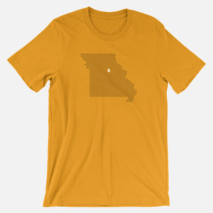 Columbia, Missouri Football Map Stats T-Shirt, Gold
