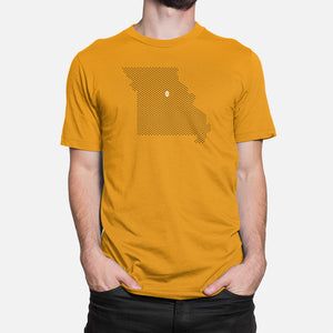 Columbia, Missouri Football Map T-Shirt, Gold
