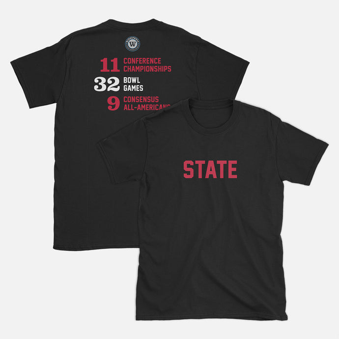 STATE Football Stats T-Shirt (North Carolina), Black