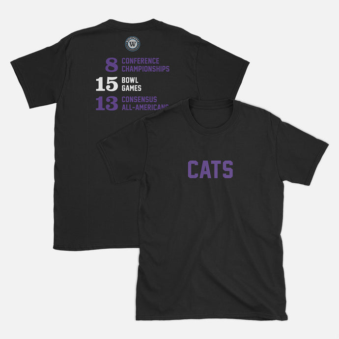 Cats Football Stats T-Shirt, Black