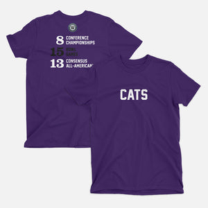 Cats Football Stats T-Shirt, Purple