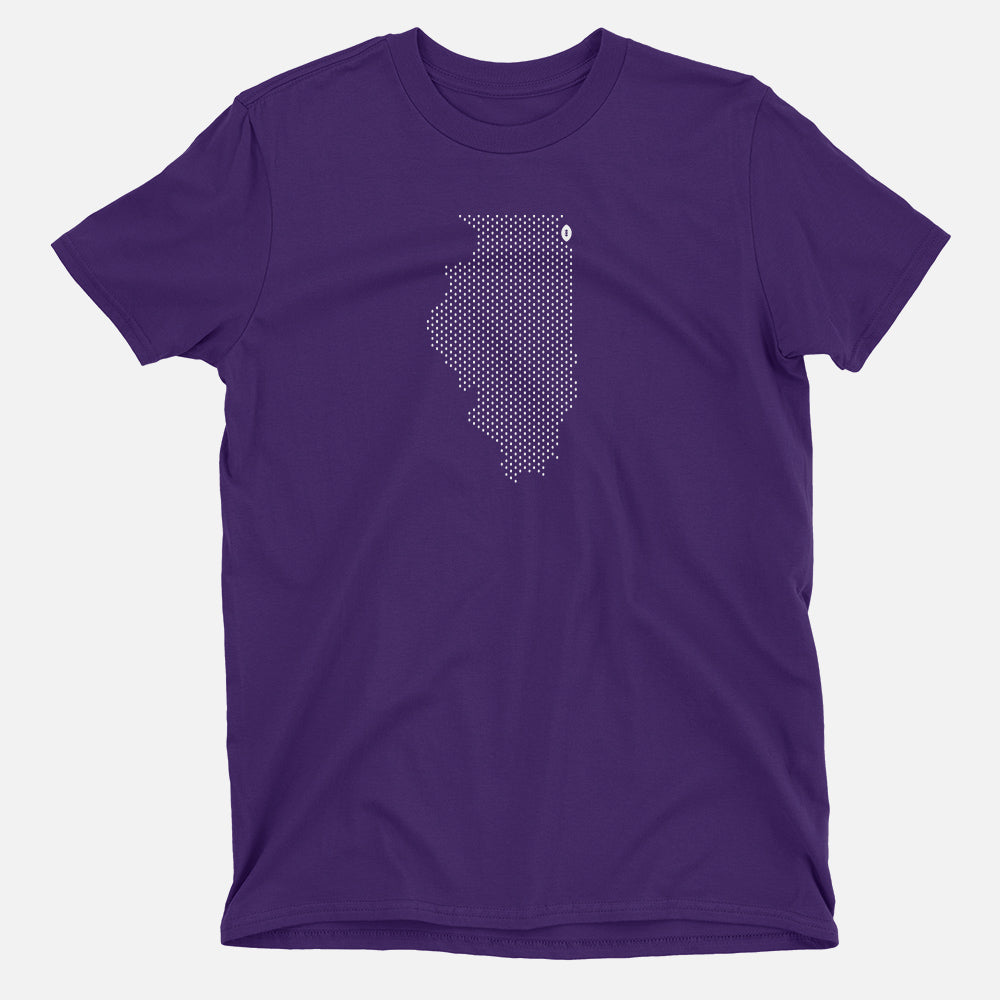 Evanston, Illinois Football Map T-Shirt, Purple
