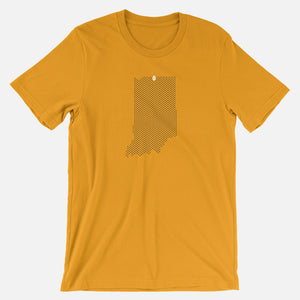 South Bend, Indiana Football Map Stats T-Shirt, Gold