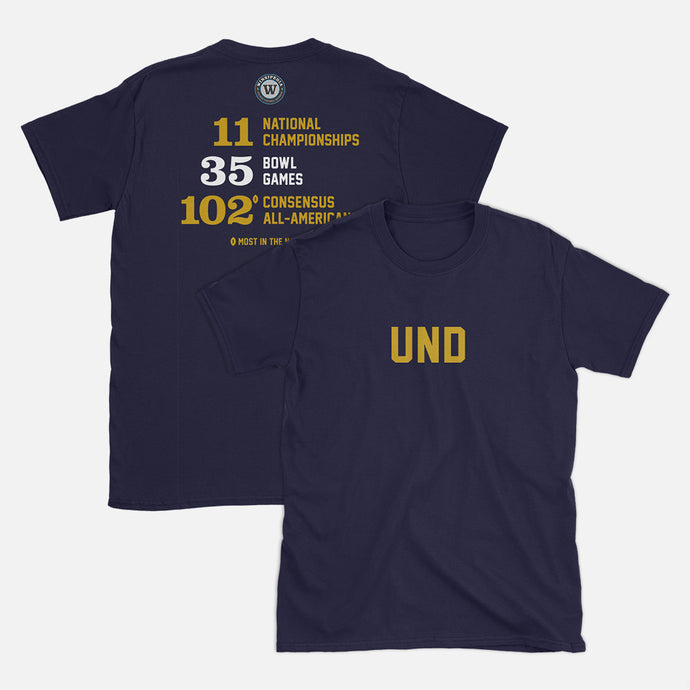 UND Football Stats T-Shirt, Navy