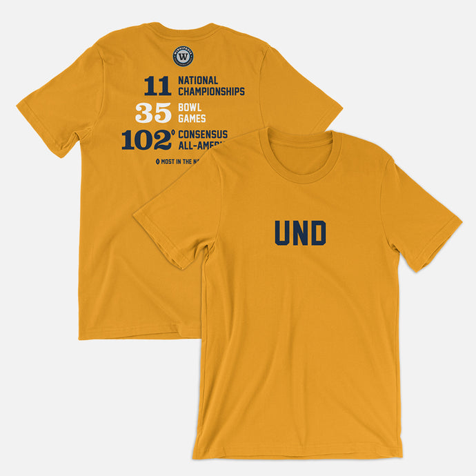 UND Football Stats T-Shirt, Gold