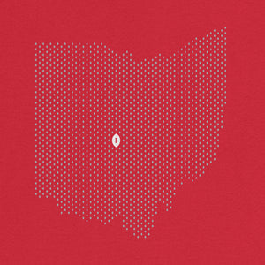 Columbus, Ohio Football Map Stats T-Shirt, Red