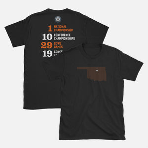 Stillwater, Oklahoma Football Map Stats T-Shirt, Black