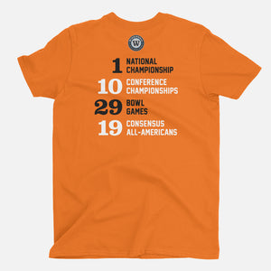 Stillwater, Oklahoma Football Map Stats T-Shirt, Orange