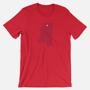 Oxford, Mississippi Football Map T-Shirt, Red