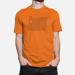 Corvallis, Oregon Football Map T-Shirt, Orange