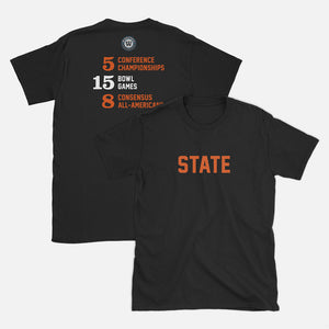 STATE Football Stats T-Shirt (Oregon), Black