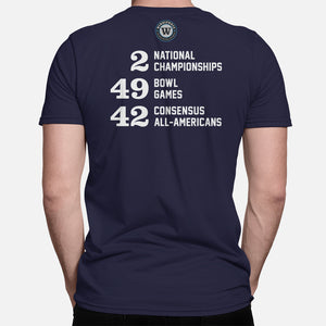 State College, Pennsylvania Football Map Stats T-Shirt, Navy