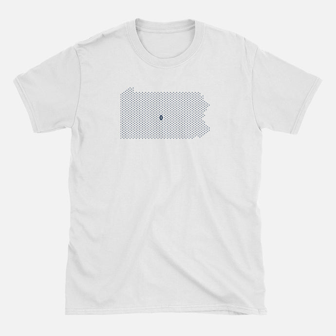 State College, Pennsylvania Football Map T-Shirt, White
