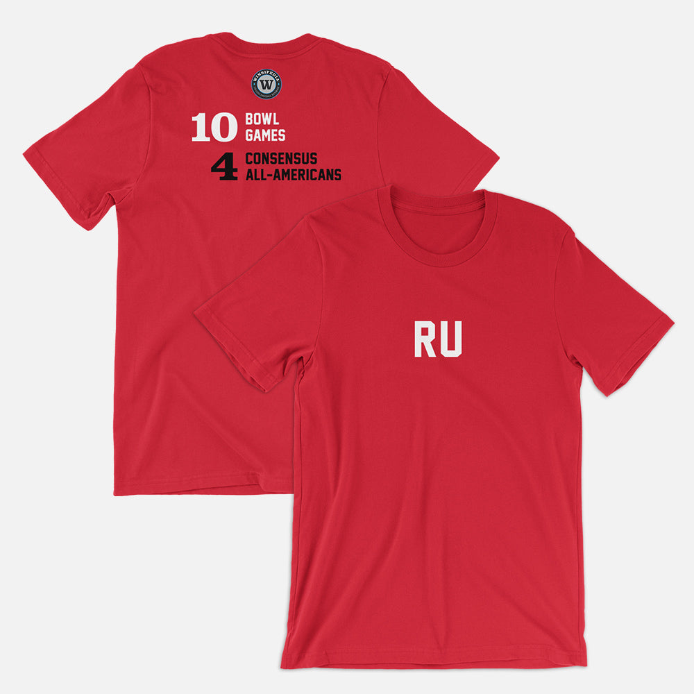 RU Football Stats T-Shirt, Red