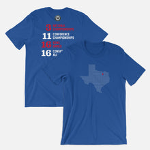 Load image into Gallery viewer, Dallas, Texas Football Map Stats T-Shirt, Royal Blue