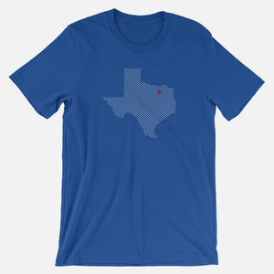 Dallas, Texas Football Map Stats T-Shirt, Royal Blue