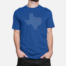 Load image into Gallery viewer, Dallas, Texas Football Map T-Shirt, Royal Blue