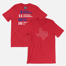 Load image into Gallery viewer, Dallas, Texas Football Map Stats T-Shirt, Red