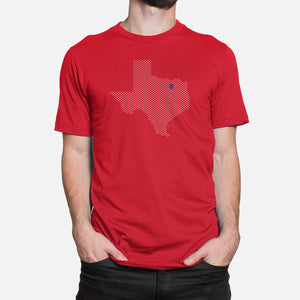 Dallas, Texas Football Map Stats T-Shirt, Red