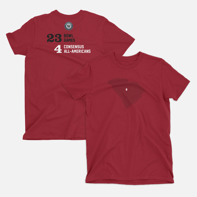 Columbia, South Carolina Football Map Stats T-Shirt, Independence Red