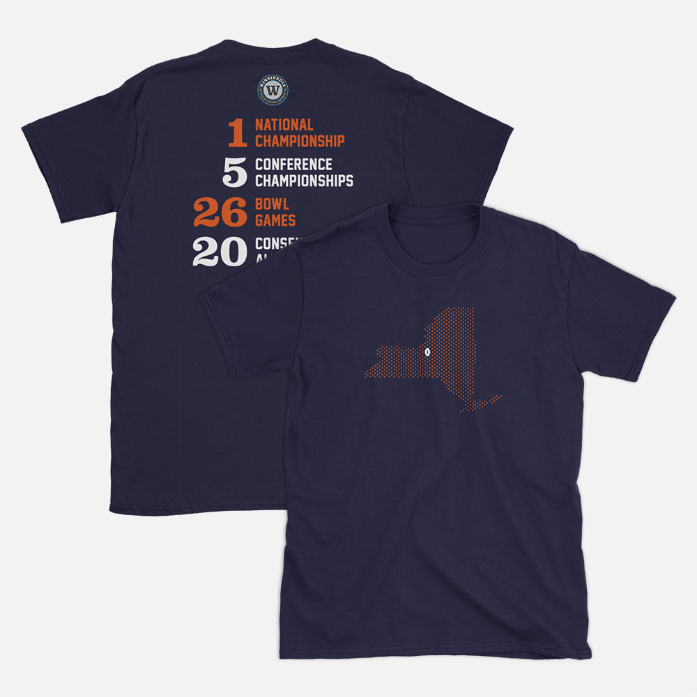 Syracuse, New York Football Map Stats T-Shirt, Navy
