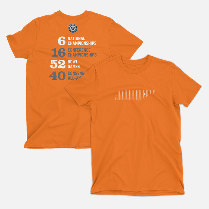 Knoxville, Tennessee Football Map Stats T-Shirt, Orange