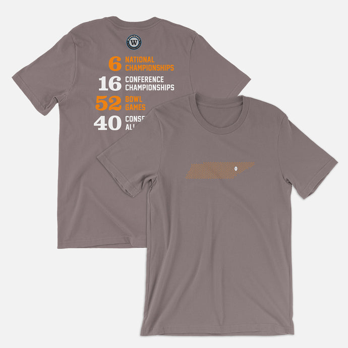 Knoxville, Tennessee Football Map Stats T-Shirt, Asphalt