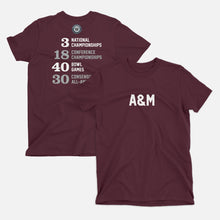Load image into Gallery viewer, A&M Football Stats T-Shirt, Maroon