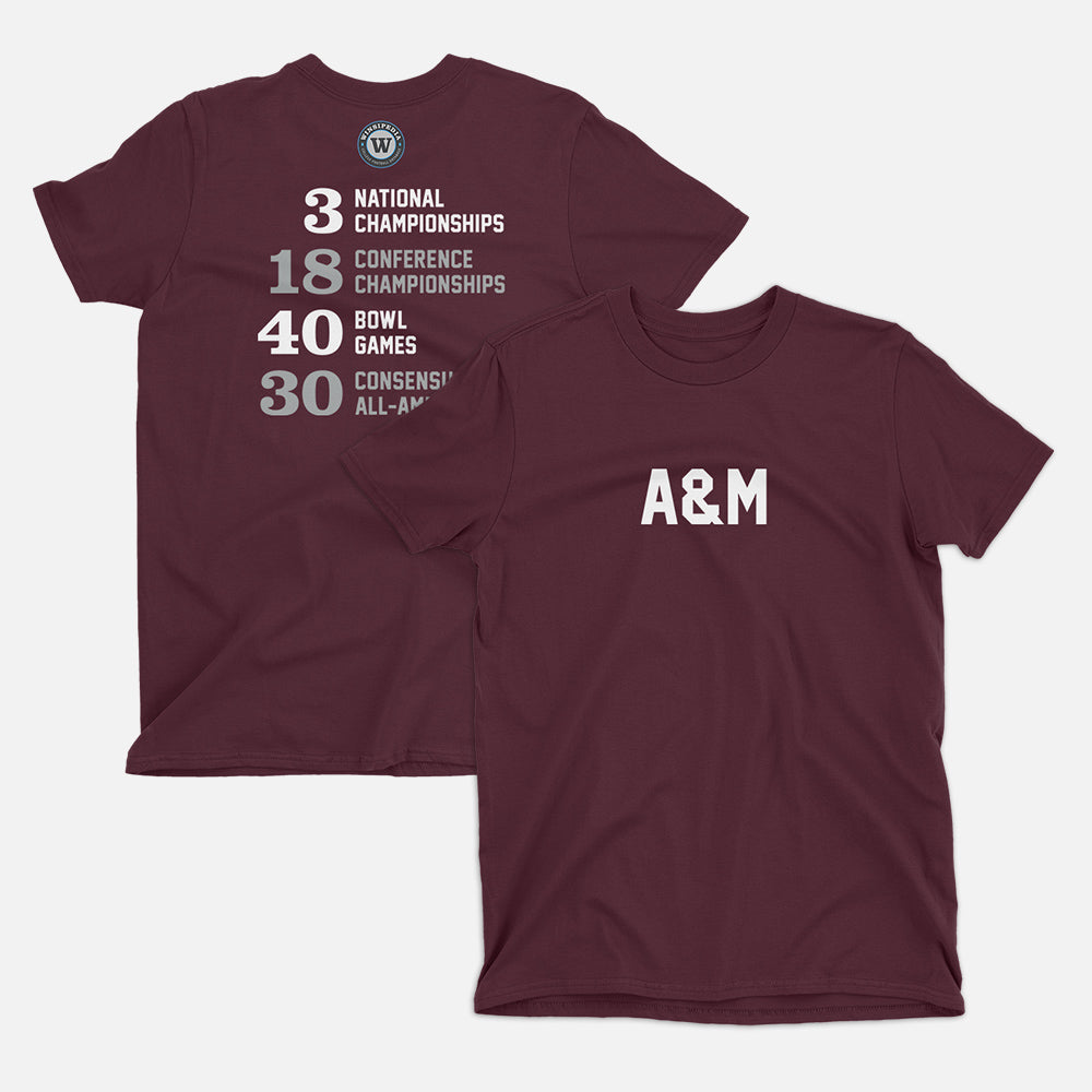 A&M Football Stats T-Shirt, Maroon