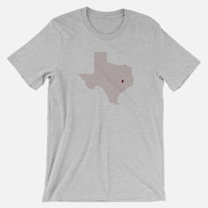 College Station, Texas Football Map Stats T-Shirt, Heather Gray