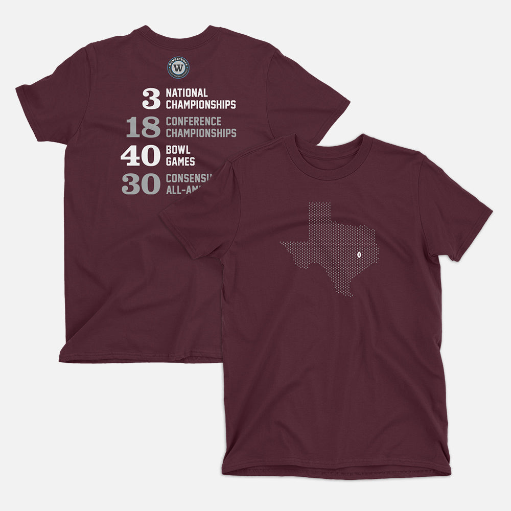 College Station, Texas Football Map Stats T-Shirt, Maroon