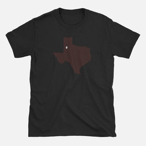 Lubbock, Texas Football Map Stats T-Shirt, Black