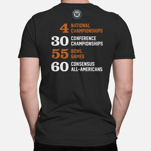 Horns Football Stats T-Shirt, Black