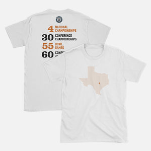 Austin, Texas Football Map Stats T-Shirt, White