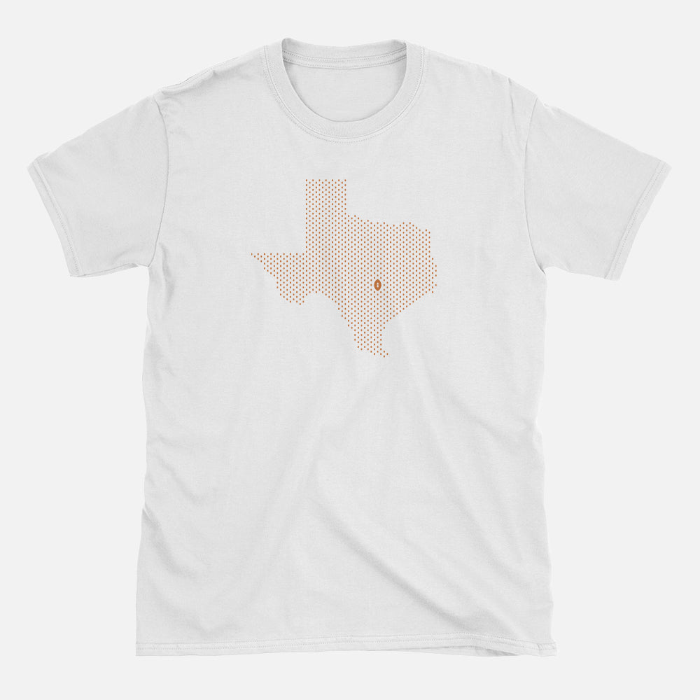 Austin, Texas Football Map T-Shirt, White