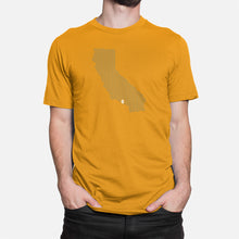 Load image into Gallery viewer, Los Angeles, California Football Map Stats T-Shirt, Gold