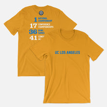 Load image into Gallery viewer, UC Los Angeles Football Stats T-Shirt, Gold