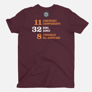 TECH Football Stats T-Shirt (Virginia), Maroon