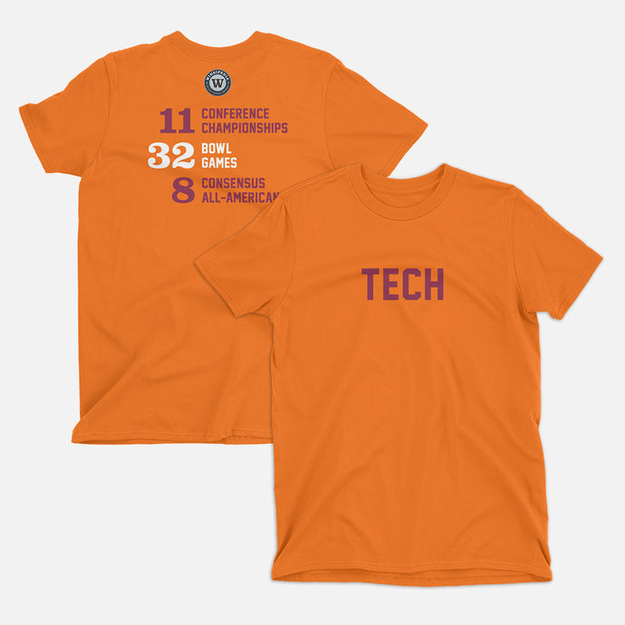 TECH Football Stats T-Shirt (Virginia), Orange
